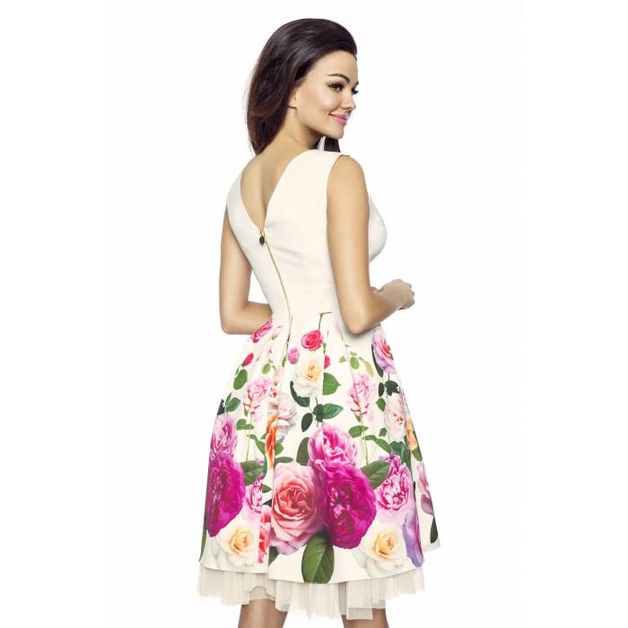Elegantné smotanové šaty s tylovou sukňou RUŽA KM223 M 329a40c61f6