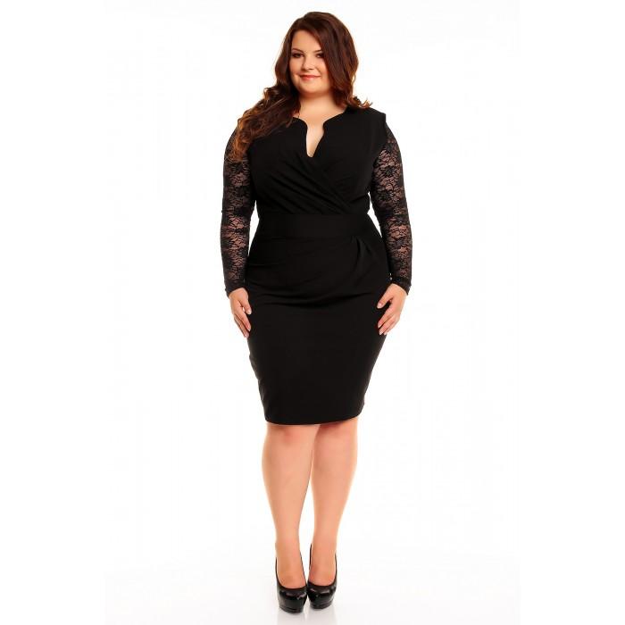 5965532f004e Čierne elegantné šaty s čipkou KM56KPS