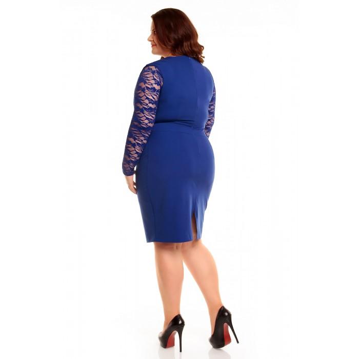6b8d48084fa9 Modré elegantné šaty s čipkou KM56KPS 50
