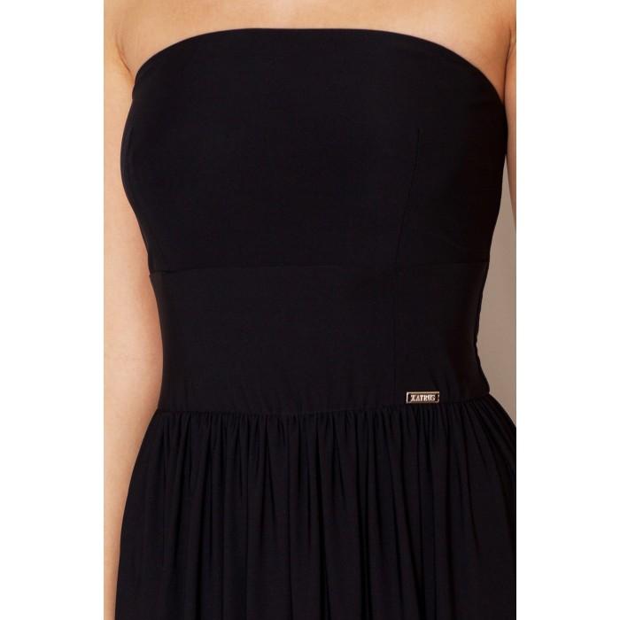 700207ea16ce Letné maxi šaty bez ramienok - čierna K252