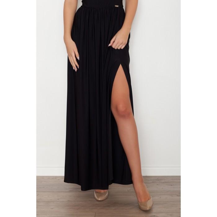 Letné maxi šaty bez ramienok - čierna K252 92515af57c0