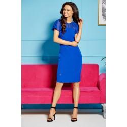 Modré elegantné púzdrové šaty so šivonovými rukávmi a dekoltom L299