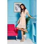 Béžové ľahučké šifónové šaty s volánmi L303