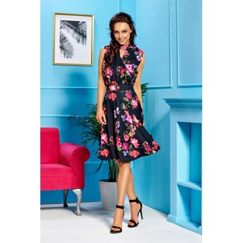 Čierne kvetované letné šaty bez rukávov L306