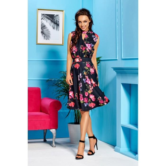 6f864165b Čierne kvetované letné šaty bez rukávov L306