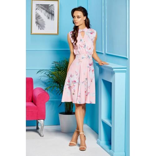 Ružové kvetované letné šaty bez rukávov L306