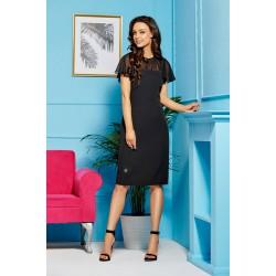 Čierne elegantné púzdrové šaty so šivonovými rukávmi a dekoltom L299