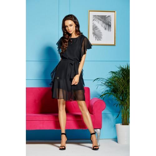 Čierne ľahučké šifónové šaty s volánmi L303