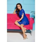 Parížsky modré ľahučké šifónové šaty s volánmi L303