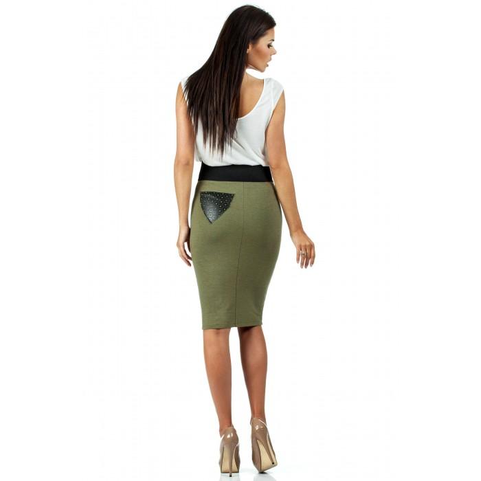 8f070777c0af Dámska khaki púzdrová sukňa s elastickým pásom 062