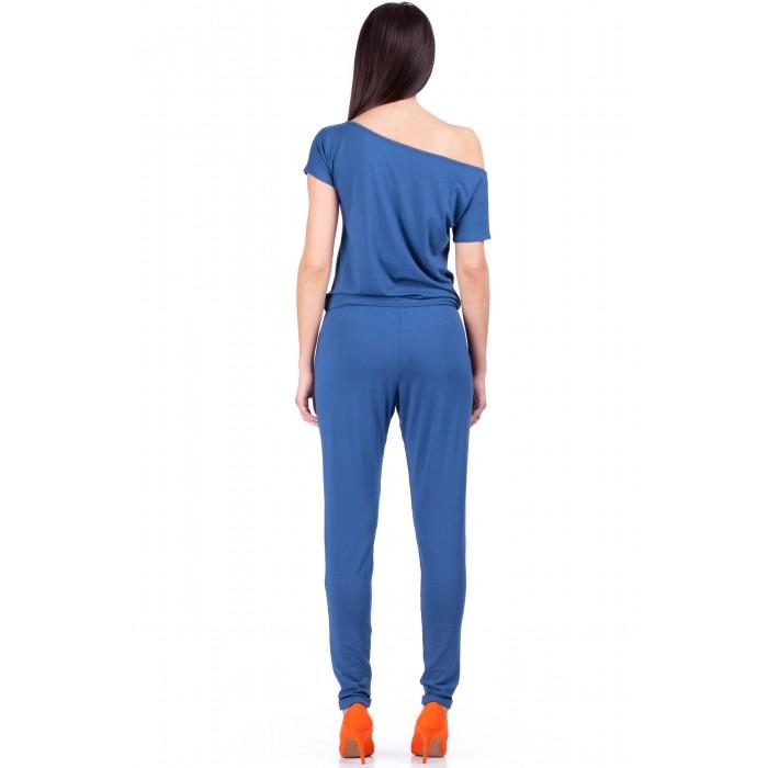 Dámsky modrý úpletový overal s krátkym rukávom 065 a9eab235b91