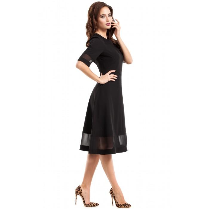 11335bf05e6c Jednoduché čierne áčkové šaty s tylom MOE272 42