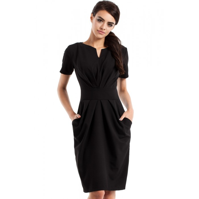 0860f3c81423 Dámske čierne šaty s krátkym rukávom MOE234