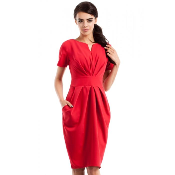 540aa9dbd Dámske červené šaty s krátkym rukávom MOE234