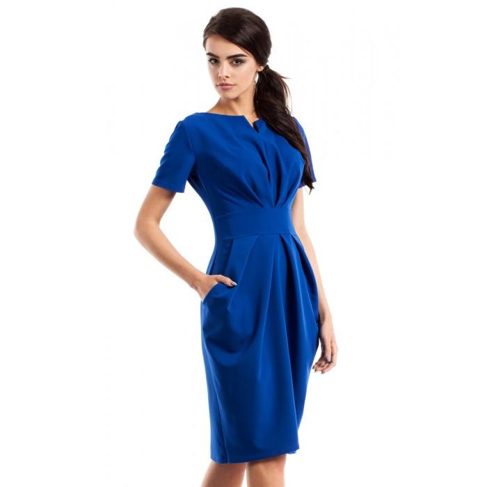 c80041134 Dámske modré šaty s krátkym rukávom MOE234