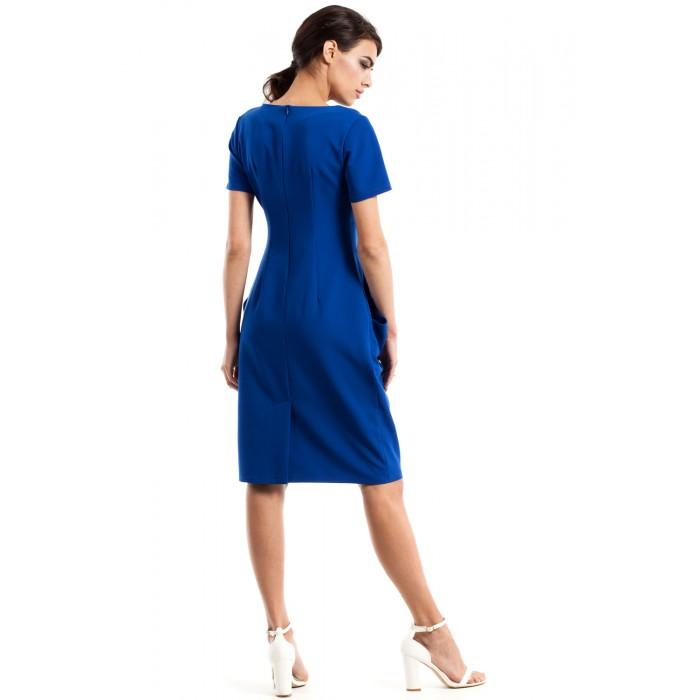 2af8d907d3de Dámske modré šaty s krátkym rukávom MOE234