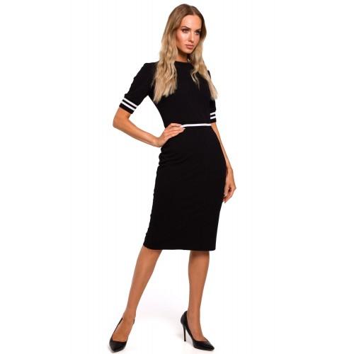 Čierne púzdrové elastické šaty MOE461 XL