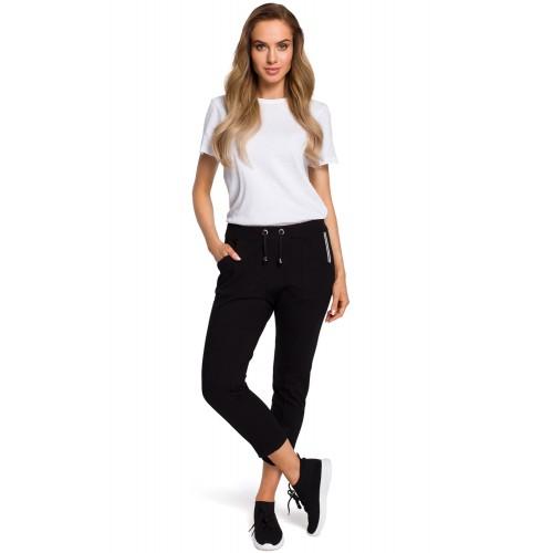 Čierne 7/8 nohavice s prešívanými pukmi MOE411