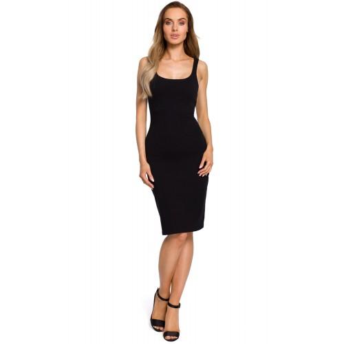 Čierne úzke bavlnené šaty na ramienka MOE414 M