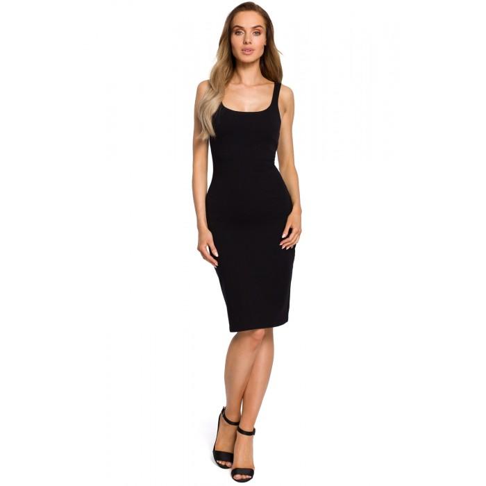 d525c73e0a35 Čierne úzke púzdrové bavlnené šaty na ramienka MOE414