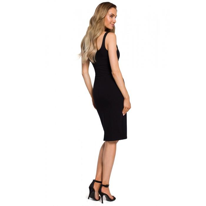 bd565be31356 Čierne úzke púzdrové bavlnené šaty na ramienka MOE414