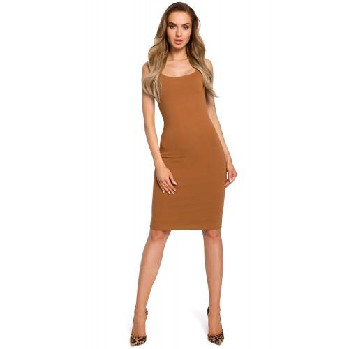 Karamelovo hnedé úzke púzdrové bavlnené šaty na ramienka MOE414