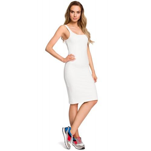 Biele úzke púzdrové bavlnené šaty na ramienka MOE414