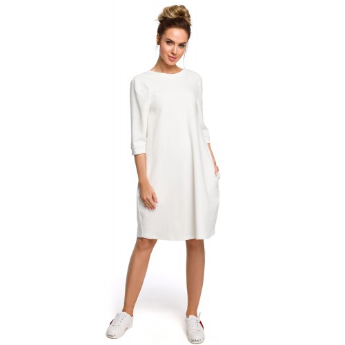Biele oversize šaty s 7/8 rukávom a vreckom MOE417