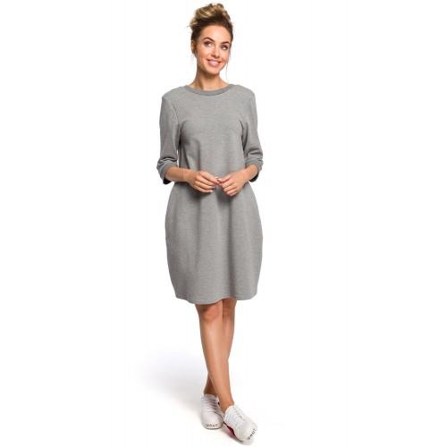 Sivé oversize šaty s 7/8 rukávom a vreckom MOE417