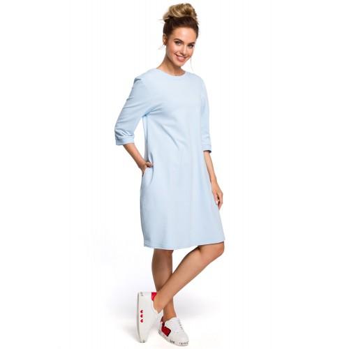 Svetlomodré oversize šaty s 7/8 rukávom a vreckom MOE417