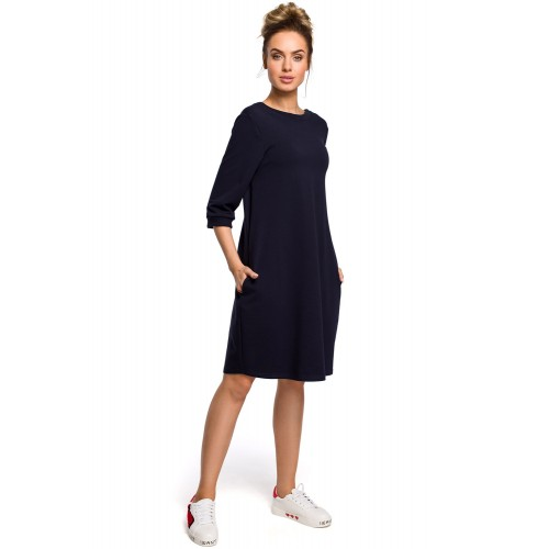 Tmavomodré oversize šaty s 7/8 rukávom a vreckom MOE417