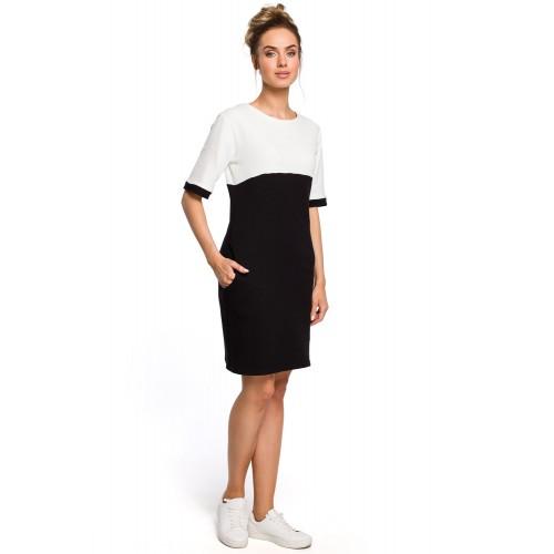 Čierno-biele šaty s krátkmy rukávom a vreckom MOE418