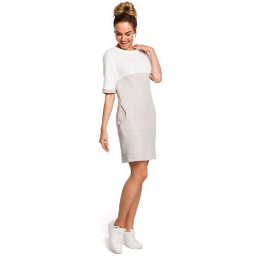 Sivo-biele šaty s krátkmy rukávom a vreckom MOE418