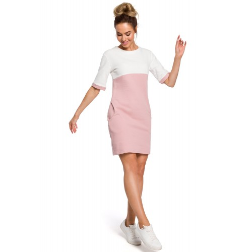 Ružovo-biele šaty s krátkmy rukávom a vreckom MOE418
