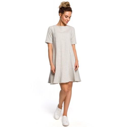 Sivé šaty s volánom a viazaním vzadu MOE419
