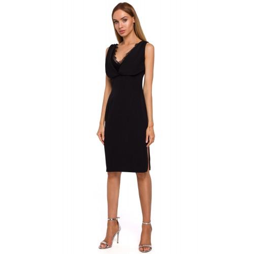 Čierne púzdrové šaty s čipkovaným dekoltom MOE486