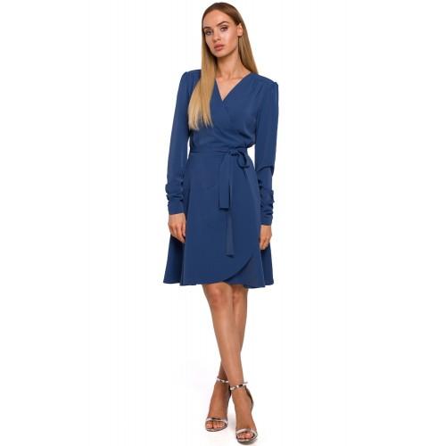 Modré zavinovacie šaty s riaseným rukávom MOE487