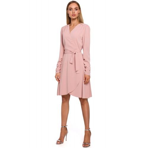 Ružové zavinovacie šaty s riaseným rukávom MOE487