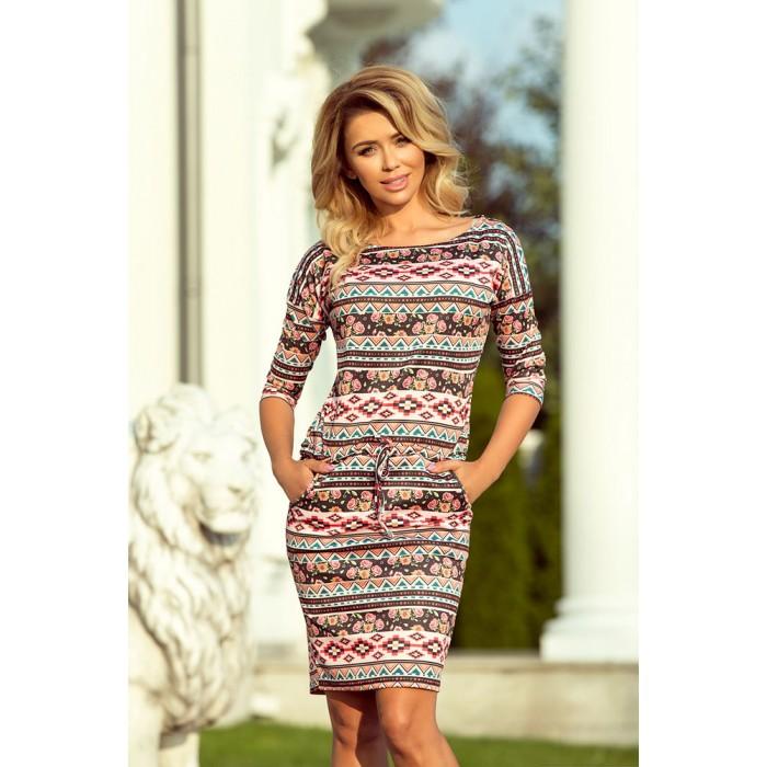 d9fd9239e98c Úpletové šaty s farebným ETNO vzorom 13-94