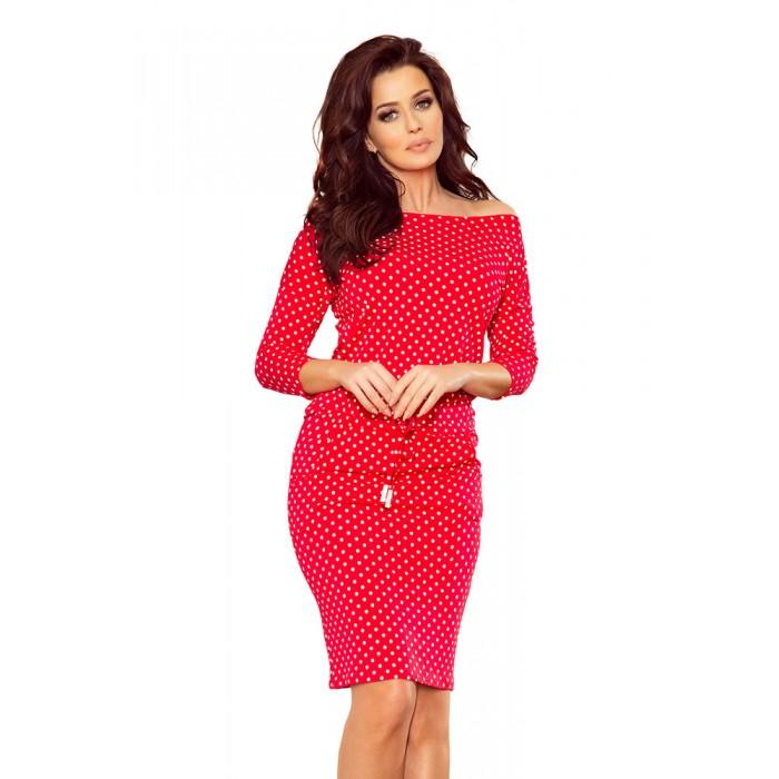 2e0deb38b287 Červené bodkované úpletové šaty 13-98