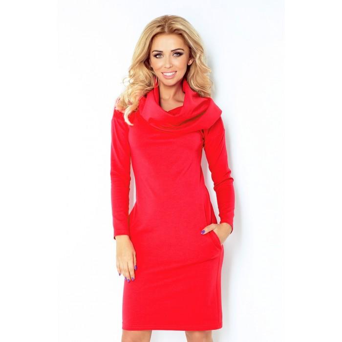 36832297efb5 Červené rolákové úpletové šaty 131-4