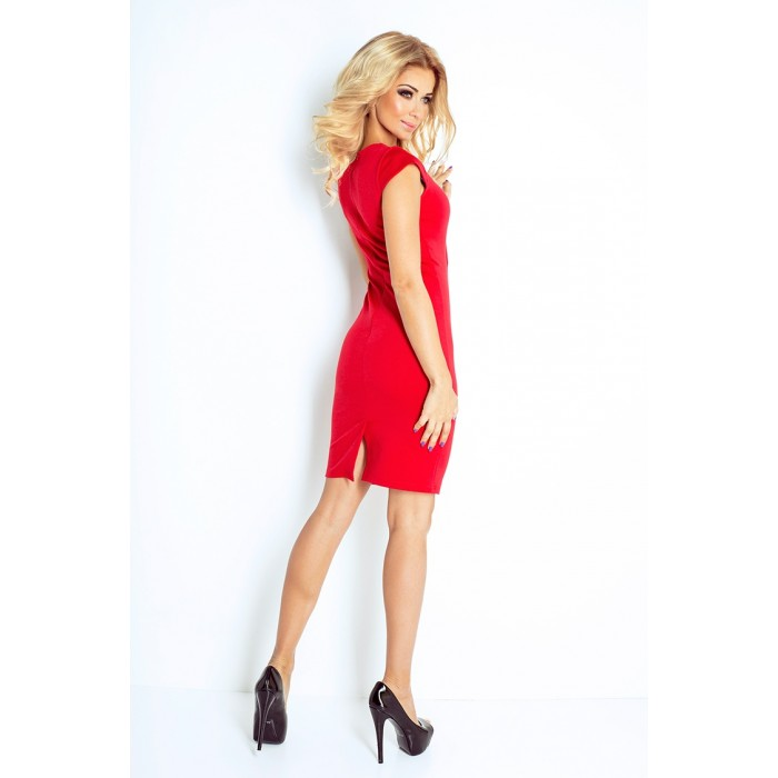 279f55f3995f Červené elegantné úpletové šaty 132-2