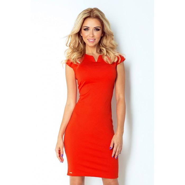 27e19713bcb0 Oranžové elegantné úpletové šaty 132-4