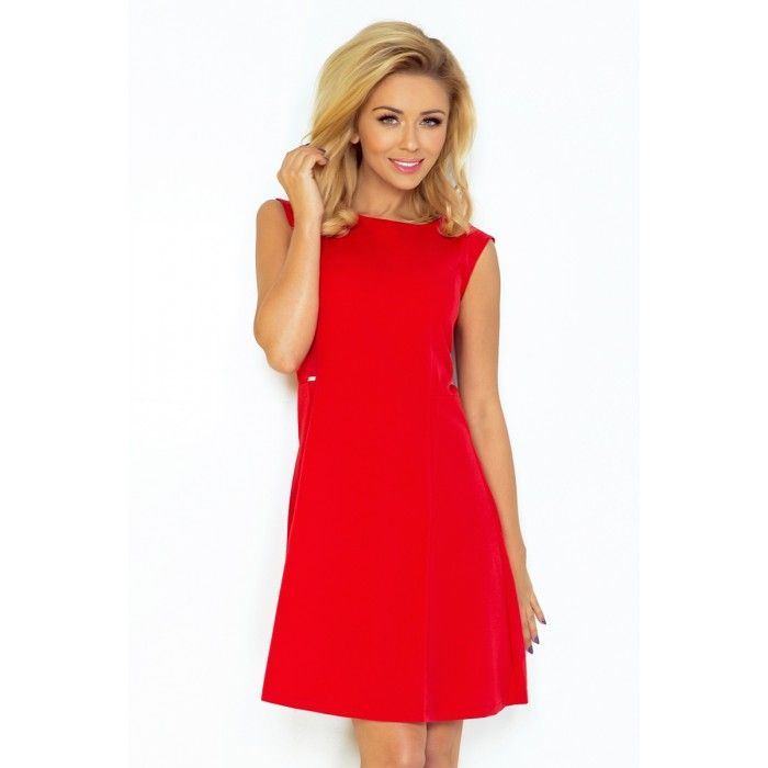 3e064da19745 Jednoduhé červené áčkové šaty bez rukávov 137-2