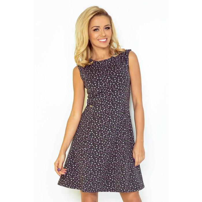 a550a81b74b1 Jednoduhé grafitové áčkové šaty bez rukávov so vzorom 137- 3