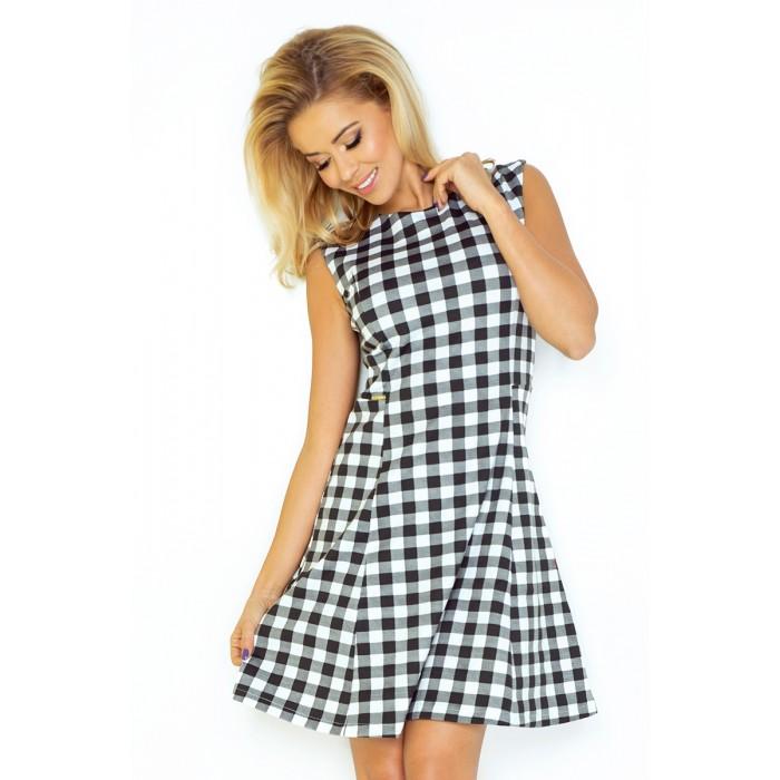 0a8db0fb89e3 Jednoduhé kockované áčkové šaty bez rukávov 137- 4