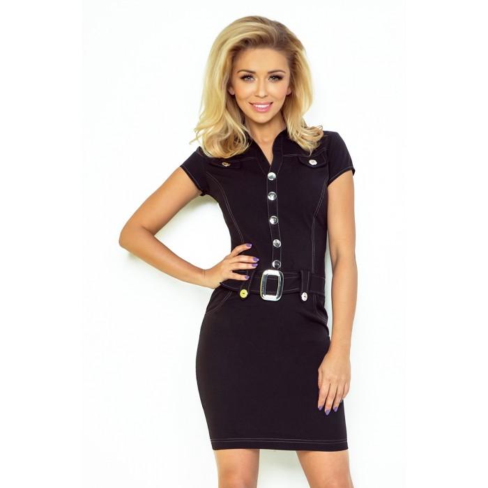 cb104f6d3b36 Čierne šaty s gombíkmi a opaskom 142-1