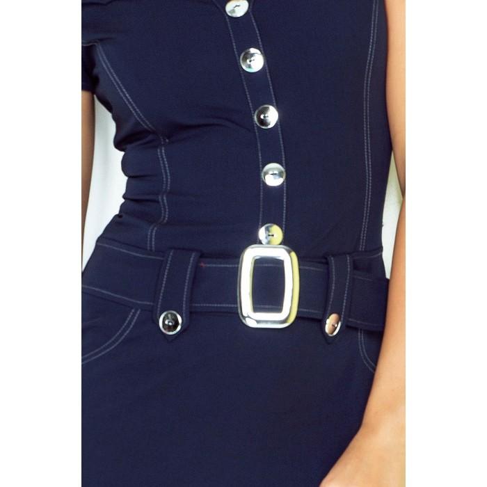 53e00148ec23 Tmavomodré šaty s gombíkmi a opaskom 142-2