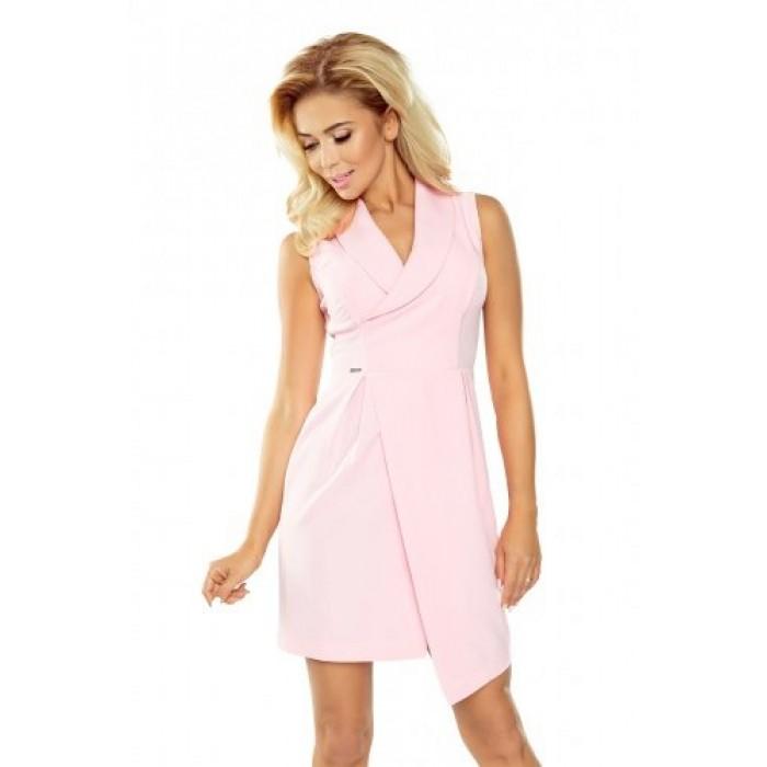 Ružovév šaty s golierom a preložením bez rukávov 153-1 382455a9d16