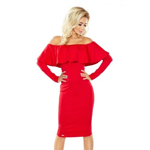 Červené úpletové šaty s dlhým rukávom HISPANSKA 156-2